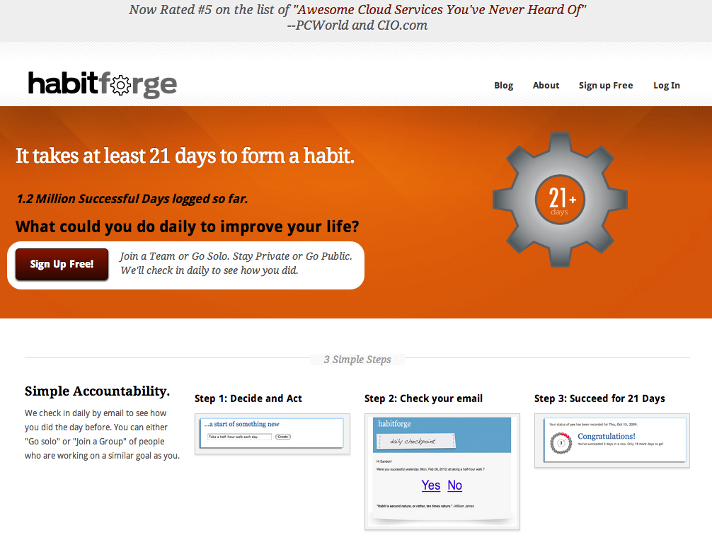Habit Forge Homepage Screenshot