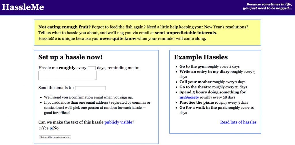 Hassle Me Homepage Screenshot